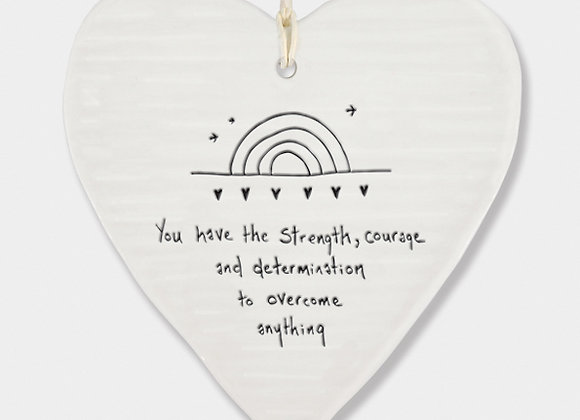 Wobbly Porcelain Heart 'Overcome' Rainbow Hanging Sign