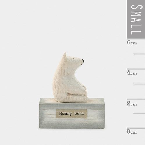 Little Wooden 'Mummy Bear' Mini Polar Bear Figurine