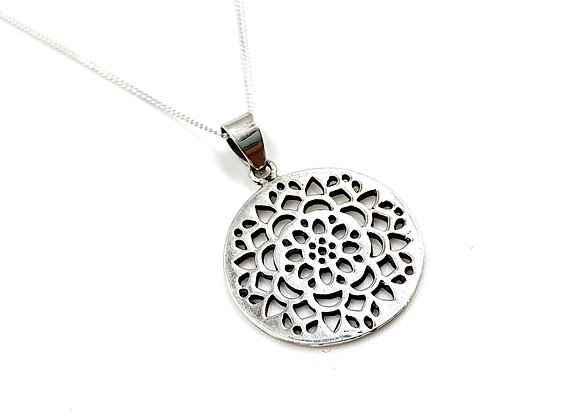 Flower, Silver Flower mandala, Mandala, Mandala necklace, Silver Mandala Necklace, Sterling Silver Mandala necklace,