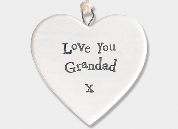 Mini Porcelain Heart 'Love You Grandad' Little Hanging Sign