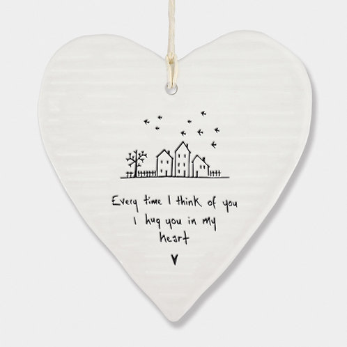 Wobbly Porcelain Heart 'Hug you in my heart' Hanging Sign