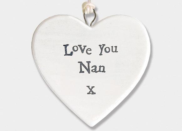 Mini Porcelain Heart 'Love You Nan' Little Hanging Sign