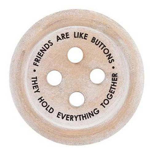 Wooden Button 'Friends are like buttons' Round Coaster