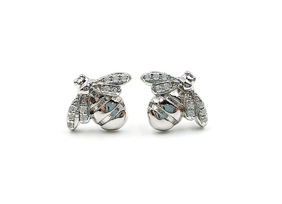 The Frosted Bee 925 Sterling Silver Stud Earrings