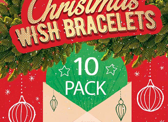 CHRISTMAS 10 PACK OF MIXED WISH BRACELETS