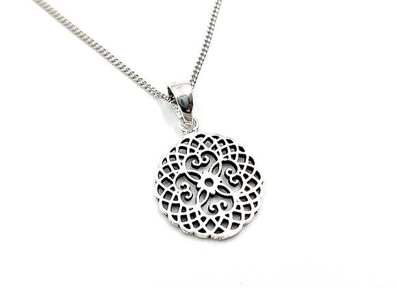 Silver Necklace, Silver mandala, Mandala, Mandala necklace, Silver Mandala Necklace, Sterling Silver Mandala necklace,