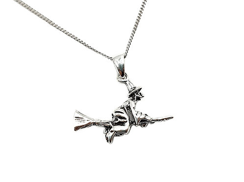 The Flying Witch 925 Sterling Silver Necklace