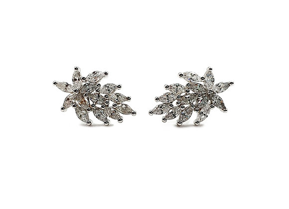 The Iced Garden 925 Sterling Silver CZ Stud Earrings