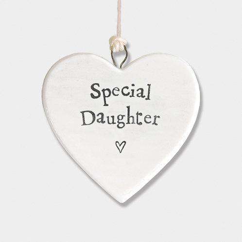 Mini Porcelain Heart 'Special Daughter' Little Hanging Sign