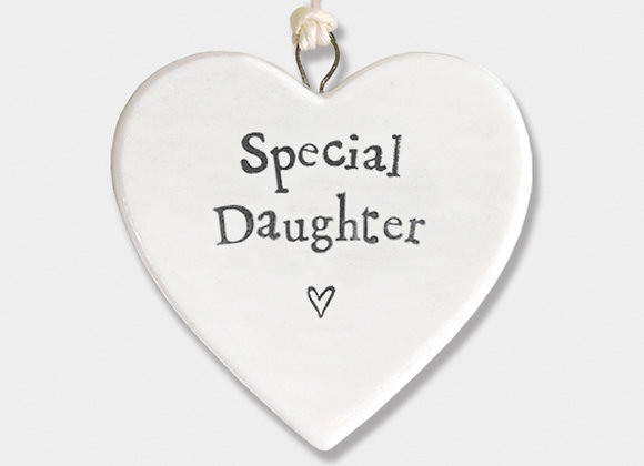 Mini Porcelain Heart 'Special Daughter' Little Hanging Sign