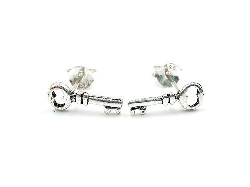 Sterling Silver Earrings, Key, Key Earrings, Silver Key Earrings, Silver Key Studs, Sterling Silver Key Earrings,