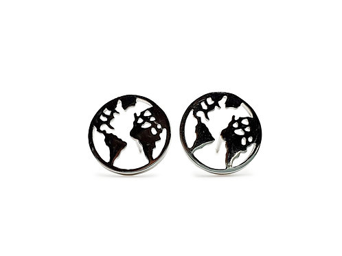The World Map Circle 925 Sterling Silver Stud Earrings