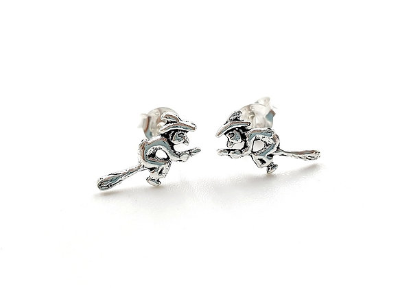 The Flying Witch Stud Earrings 925 Sterling Silver