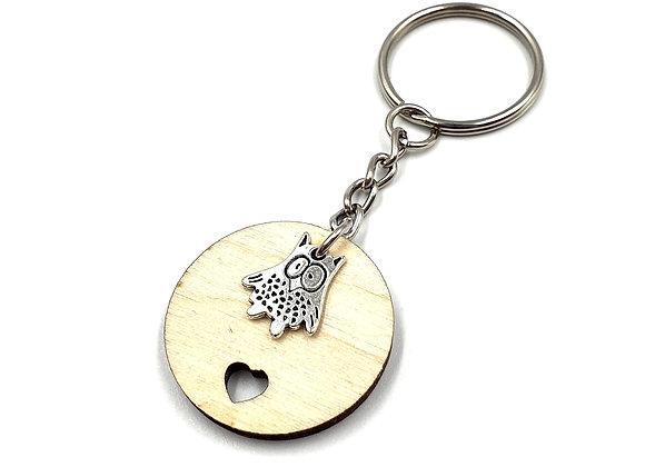 Key, Ring, Key ring, Keyring, Owl, Owl Keyring, Owl Key ring, Animal Key ring, Wise Owl Keyring, Wooden Keyring, Wood,