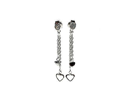 The Heart Waterfall 925 Sterling Silver CZ Stud Earrings