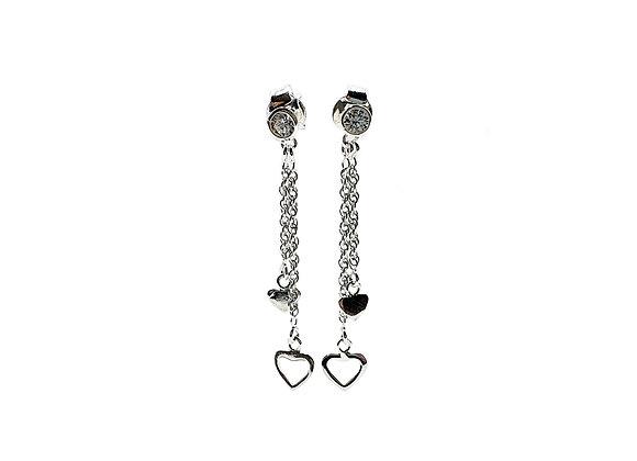 Heart Waterfall 925 Sterling Silver CZ Stud Earrings
