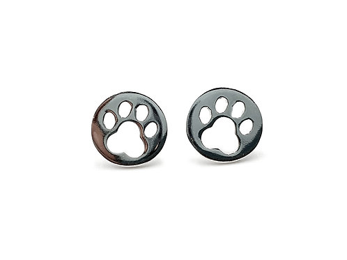 The Perfect Paw Print 925 Sterling Silver Round Stud Earrings