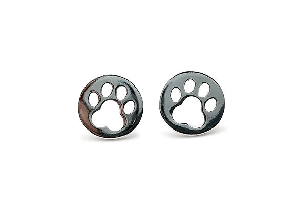 Perfect Paw Print 925 Sterling Silver Round Stud Earrings