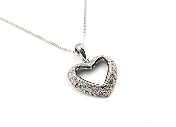 Silver love heart Necklace, Heart, Love, Heart necklace, Silver heart Necklace, Sterling Silver heart necklace, love necklace