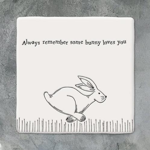 Porcelain 'some bunny loves you' Square Illustration Coaster