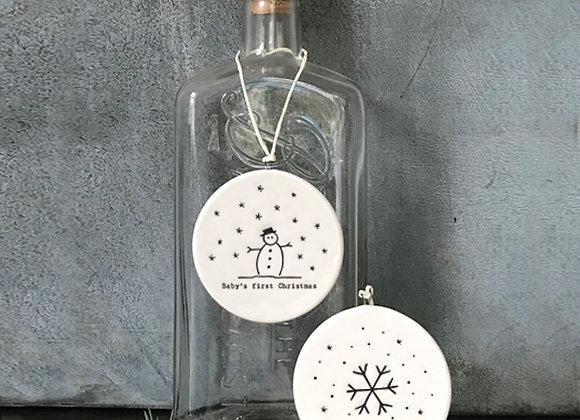 Double Sided White Porcelain 'Baby's First Christmas' Bauble Sign