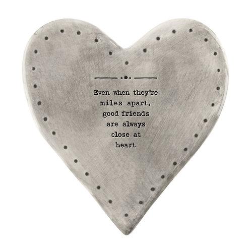 Rustic Porcelain Heart Coaster 'Close at heart' Poem