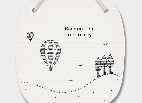 Porcelain Rounded Square 'Escape' Hanging Sign