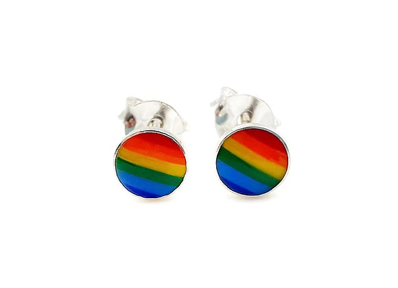 The Tiny Rainbow Circles 925 Sterling Silver Stud Earrings