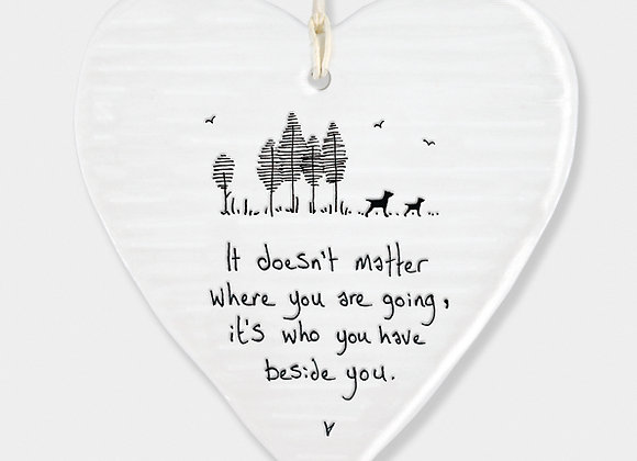 Wobbly Porcelain Heart 'Beside You' Hanging Sign