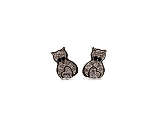 The Frosted Kitty Cat 925 Sterling Silver Stud Earrings