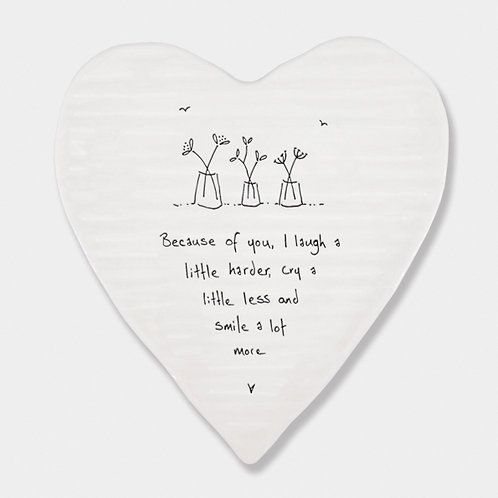 Porcelain Heart 'Because of you' Coaster