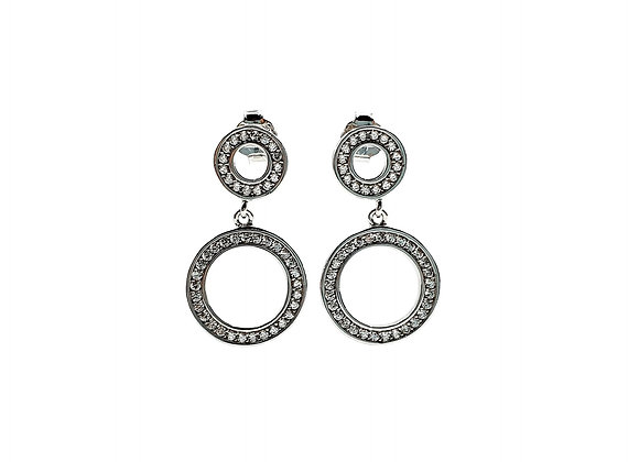 The Frosted Circle Sterling Silver CZ Stud Earrings