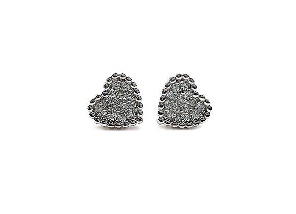 The Beaded Heart 925 Sterling Silver CZ Stud Earrings