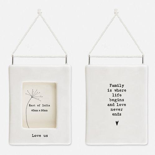 'Love us' Little Porcelain Hanging Frame
