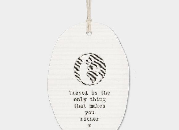 Globe Porcelain Oval 'Travel' Hanging Sign