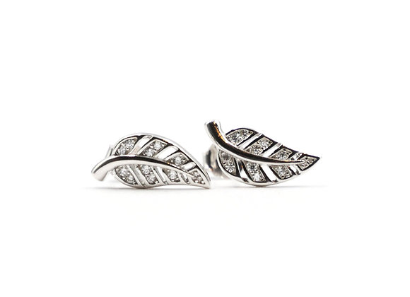 Sterling Silver Earrings, Leaf, Leaf Earrings, Silver Leaf Earrings, Silver Leaf Studs, Sterling Silver Leaf Earrings,