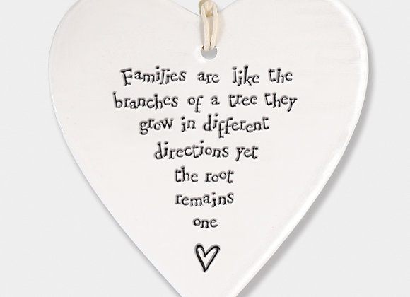 Porcelain Round heart 'Family Tree' Hanging Sign