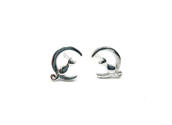 Sterling Silver Earrings, Cat, Cat Earrings, Silver Cat Earrings, Silver Cat Studs, Sterling Silver Cat Earrings,