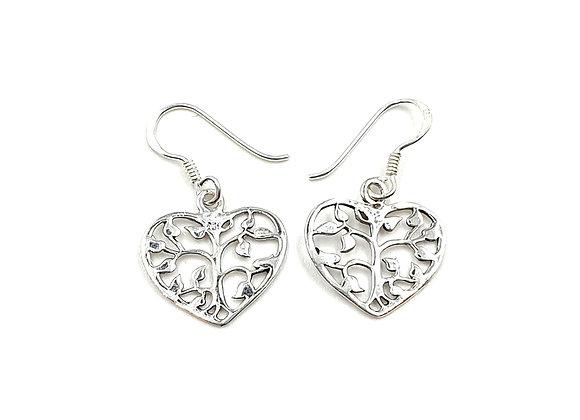 Flower, Drop, Earrings, Flower Heart Drop Earrings, Silver Flower Heart Drop Earrings, Sterling Silver Heart Drop Earrings,