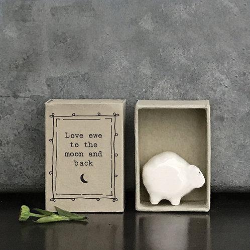 Little Matchbox Porcelain Sheep Mini Figurine