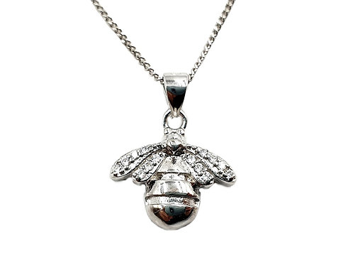 The Frosted Bumble Bee 925 Sterling Silver Necklace