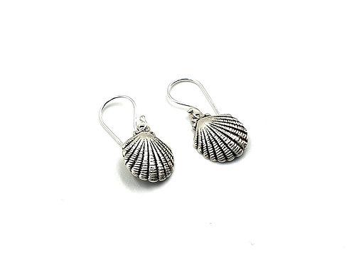 mermaid, shell, silver, drop earrings, shell drop earrings, silver shell drop earrings, mermaid drop earrings, mermaid shell,
