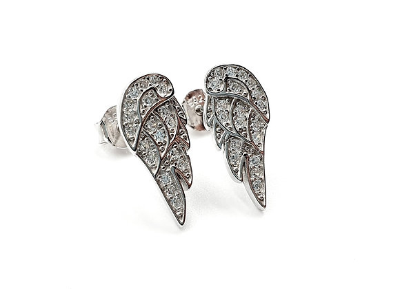 Angel, wing, Angel wing Earrings, Silver Angel wing Earrings, Silver Angel wing Studs, Sterling Silver Angel wing Earrings,