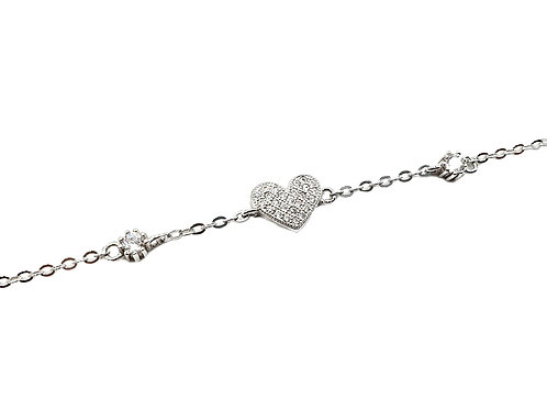 The Frosted Love Heart 925 Sterling Silver Bracelet