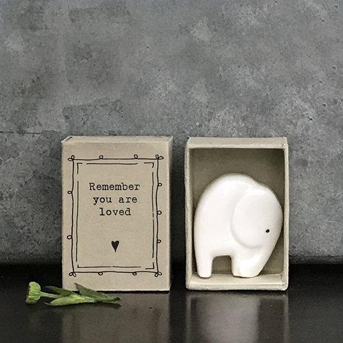 Little Matchbox Porcelain Elephant Mini Figurine