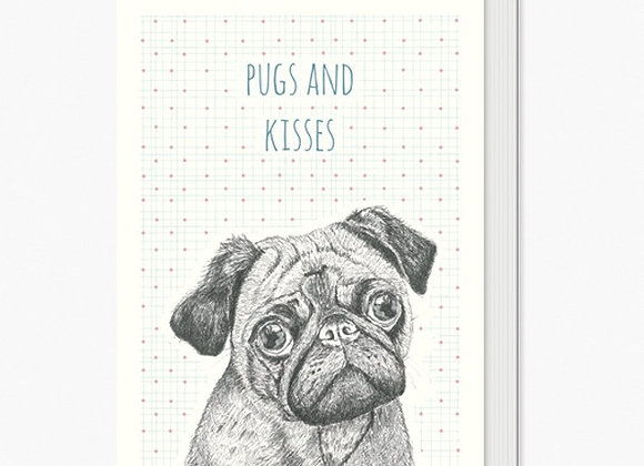 Pugs and Kisses Greeting Card A6