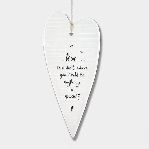 Wobbly Long Porcelain Heart 'Be Yourself' Hanging Sign