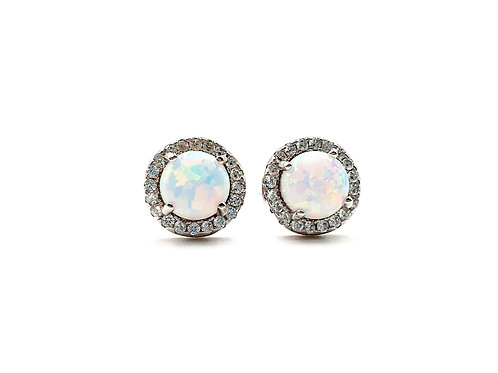 White Opal and Clear Cubic Zirconia Sterling Silver Stud Earrings