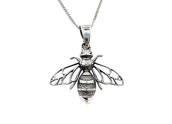 Silver, Bee, Silver Bee, necklace, Sterling Silver bee Necklace, Silver Bee Necklace, Large Bee, Silver Large Bee Necklace,