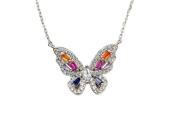 Frosted Rainbow Butterfly 925 Sterling Silver Necklace
